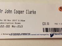 Dr John Cooper Clarke Pair Of Tickets