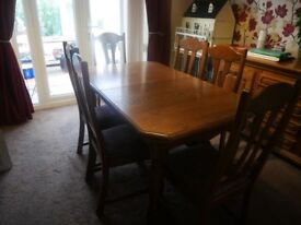 Oak Table 6 Chairs Wall unit and Side board