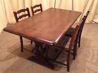 Dining Table & Chairs - Refectory Table & 4 Ladder Back Chairs