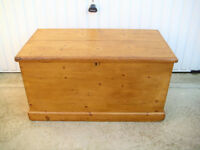 Antique Pine Blanket Box Chest Coffee Table Toy Box