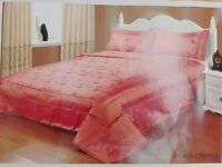 King Luxury Embroidered and Quilted Throwover - Colour: Peach Crinkle