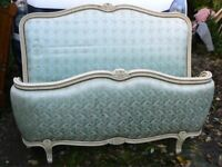 Super vintage French Orig/painted Corbeille Larger double upholstered bed