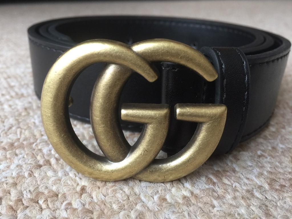 fbf361461 Gucci GG Marmont belt x gold and black leather x popular vintage designer  style