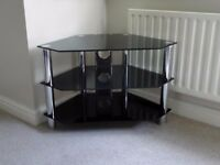 TV Corner Stand in Black Glass and Chrome Effect
