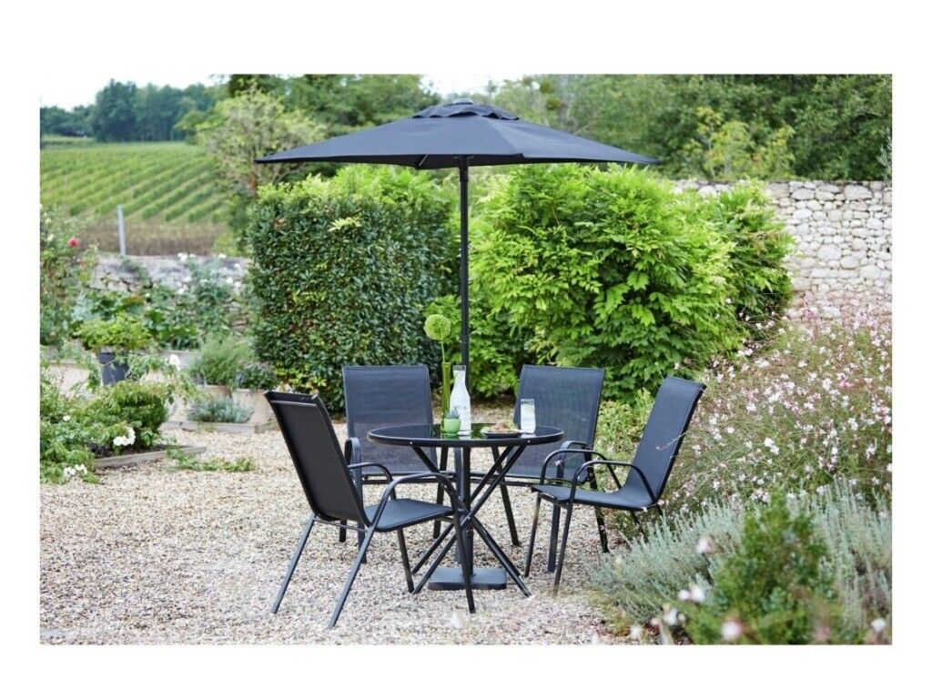 Garden furniture set glass black table 6 chairs and parasol