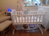 White wooden cot crib with free baby carrier, babybath and large support cushion, Only £20!