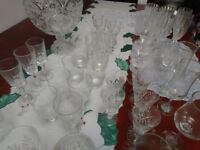 Selection of crystal cut glasses and fruit bowl. 55 items in total.