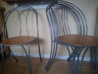 4 Wood / Metal Dining Chairs