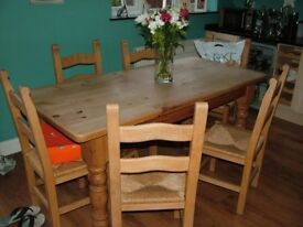 Solid Wood Dining Table & Six Chairs For Sale