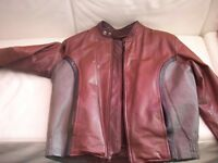Tri-colour Leather Bike Jacket. M.