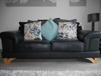 Black leather Sofa - large 2 seater - top quality leather MUST SELL THIS WEEKEND