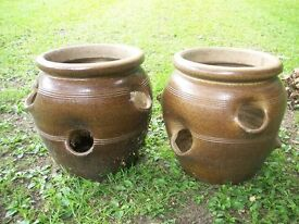 TWO LARGE STRAWBERRY / HERB POTS HEAVY EARTHERN WARE GLAZE FROST RESISTANT