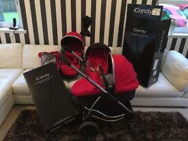 Icandy Strawberry Carry cot and Push chair with Maxi Cosi car seat