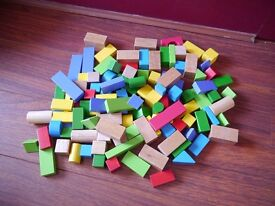 Colourful wooden building bricks