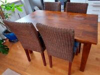 Dark Solid Oak Dining Table and Four chairs - Length 140cm - Width 80cm - Height 78cm