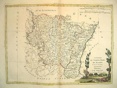 1777 Genuine Antique Hand Colored Map Northeast France. Elegant Cartouche Zatta
