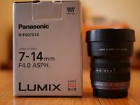 Panasonic Lumix 7-14mm F4 Zoom Lens Micro Four Thirds MFT Olympus Ultra Wide Angle gh5 gh4 g80 g7