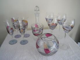 Hand blown and painted glassware