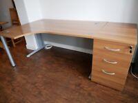 Large Corner Desk & Drawers Pedestal Filing Cabinet - Very Good Condition