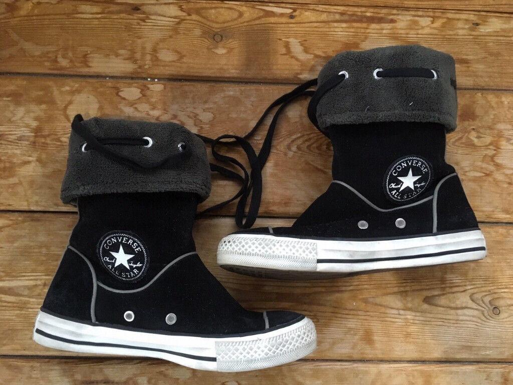 fba16e9d7a58 Converse Women s Ladies Girls Junior Black Suede Hi Top Boots UK Size 3 -  EU 35 - Unusual Style