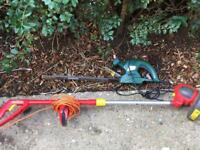 Electric hedge trimmer and strimmer