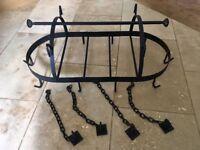 Black iron kitchen utensil pot hanging rack