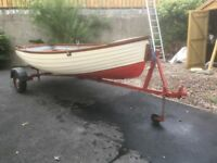 12 Feet Fibreglass lake/sea boat plus Suspension trailer oars, rowlocks, anchor, rope £900 ono