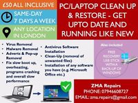COMPLETE PC/LAPTOP REPAIR + CLEANUP + ANTIVIRUS (any location in London)