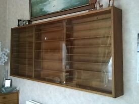 Large wooden wall display cabinet
