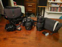 Canon EOS 1200D 18.0MP Digital SLR Camera + 2 lenses, bag, extra battery
