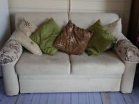 Beige Sofabed with wooden frame