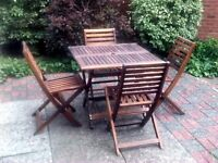 Solid Acacia Wood Garden Dining Set - Table and 4 Chairs – Excellent Condition