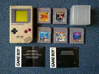 Original Nintendo GAMEBOY (spares/repairs) + 5 fully working games inc. Zelda & Tetris - Game boy