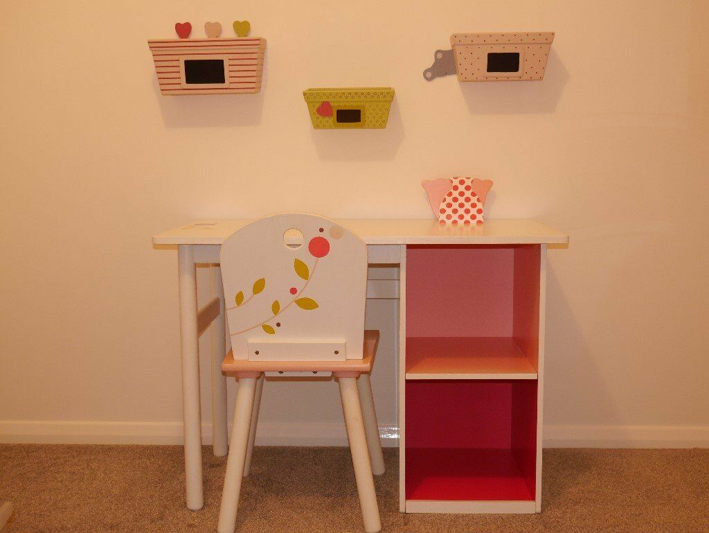 Girls Desk Chair And Matching Wall Mount Storage Boxes By