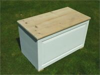 Blanket box - solid pine - new / unused. Hand painted 'Linen' chalk with natural pine top