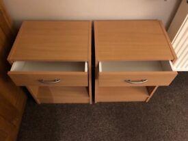 Set of light oak effect bedside cabinets