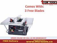 "Draper 31133 Table Saw 10"" 1500W 230v Log Splitter + 3 Free Blades"