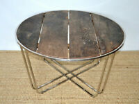 V0114 - Rustic Refurbished Wood Metal Base Industrial Round Coffee/Garden Table 90x50cm