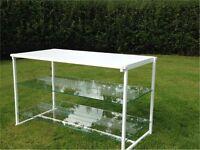 MODERN STEEL TABLES DISPLAY BENCHES GLASS SHELVES SHOPS SALONS HOUSE WORKSHOP