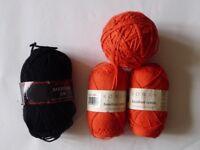 Selection of Rowan Handknit Cotton John Lewis Merino Knitting Wool Yarn Craft Orange Black