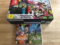 Nintendo Switch with tree games
