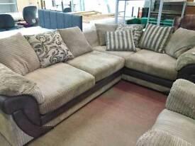 Modern fabric corner sofa and matching armchair