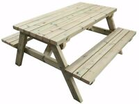 5FT - Premium Heavy Duty Picnic Table Made With Chunky Furniture Grade Swedish Redwood.