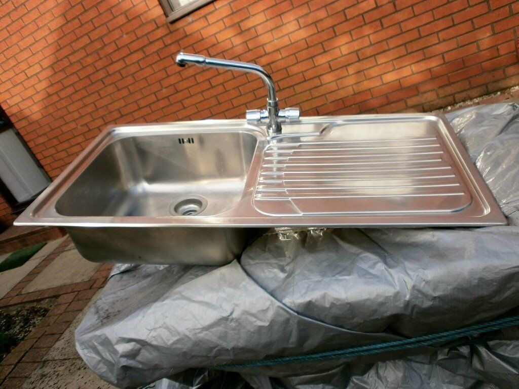 STAINLESS STEEL SINK WITH TRAP AND TAPS GOOD CONDITION in Lostock ...