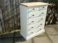 Solid pine 2+4 chest of drawers Chalk paint finish Natural pine top Super quality Super condition