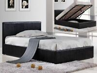 Brand New Furniture-Leather Ottoman Storage Bed Frame in Black Brown and White Color