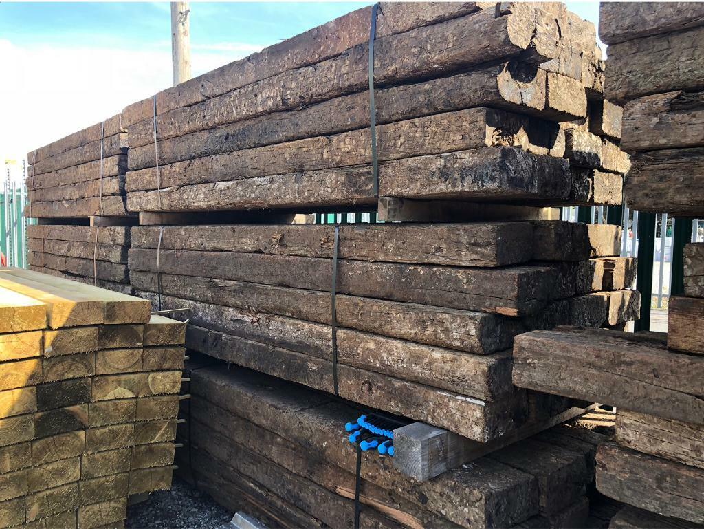 🐌 Wooden Reclaimed Railway Sleepers ~ Various Sizes | in ...