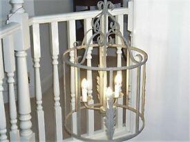 Three bulb lantern hall lamp. Wrought iron. Recent PAT test and new bilb holders