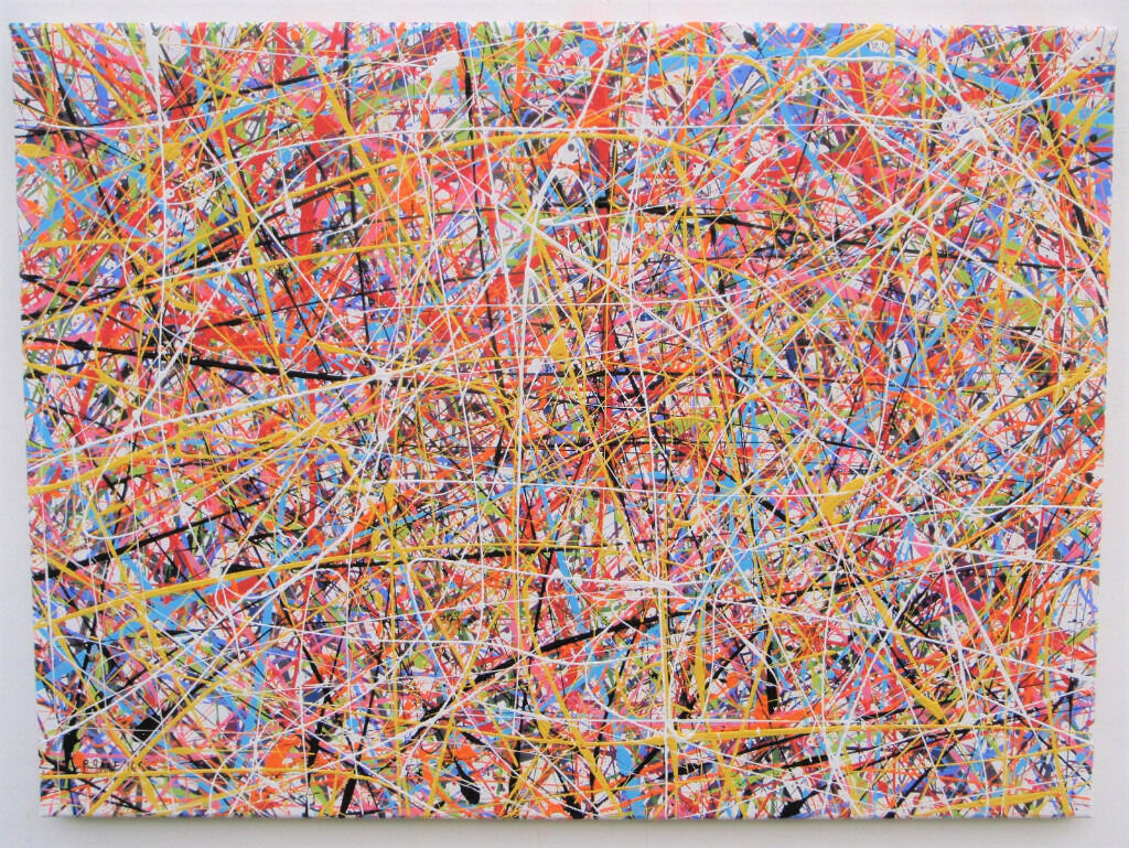 large modern art new drip splatter abstract painting on