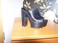 black real leather platform shoe